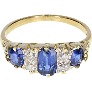 Antique Victorian Sapphire Diamond Gallery Set 18ct Gold Ring