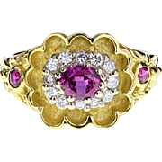 Vintage Fancy Ruby and Diamond Cluster 18ct Gold Ring