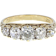 Antique Victorian Gallery Set Five Stone Diamond Gold Ring