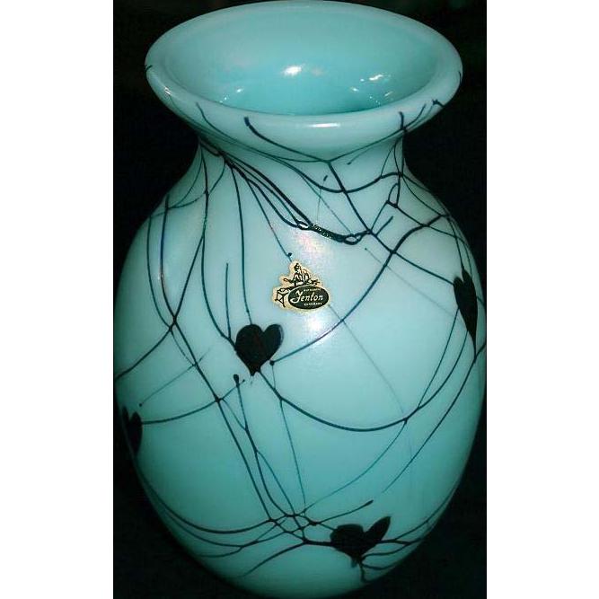 Fenton Art Glass Hand Made Turquoise Hanging Hearts Vase