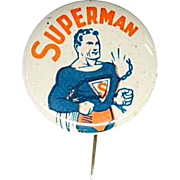 Rare first Superman celluloid pinback by DC comics in 1939