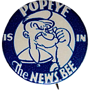 """Popeye Is In The News Bee 1930's 1 1/4"""" celluloid pinback"""