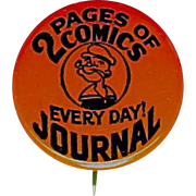 """2 Pages of Comics Every Day Journal Popeye 1"""" celluloid pin back"""