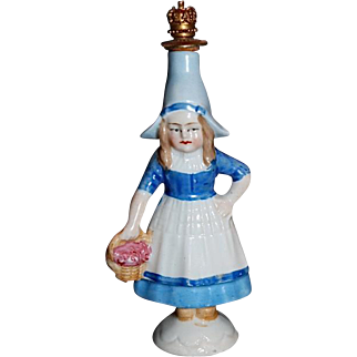 Crown Top hand painted porcelain perfume bottle, Sitzendorf, Thuringia, Germany