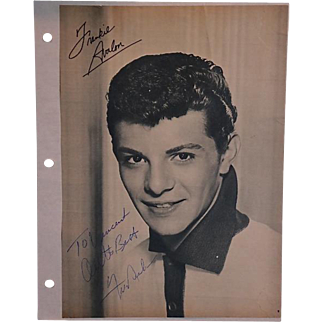 Frankie Avalon signed and inscribed black & white portrait magazine photograph