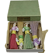 Porcelain Doll's With Brushes for Ace High card game, Germany, early 1930's