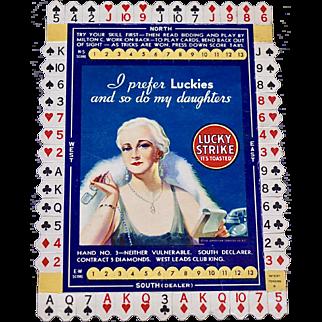 1930's Milton C. Work Lucky Strike unused bridge card, card #3