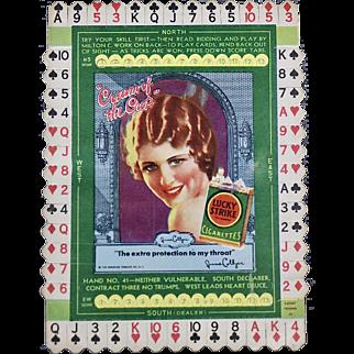 1930's Milton C. Work Lucky Strike unused bridge card, card #41