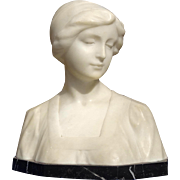 Lovely Italian Late 19th Century Carved Alabaster Female Bust
