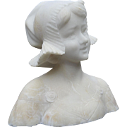 Very Nice Late 19th Century Carved Alabaster Dutch Girl Bust