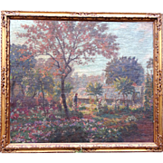 Late Impressionist Felix Gogo Large Oil Painting Flower Garden and Greenhouses