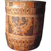 Mayan Ulua Polychrome Vase with Spread Winged Figure and Glyphs Pre-Columbian