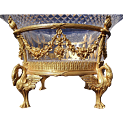 Exquisite 19th Century French Empire Dore Gilt Bronze Crystal Bowl Centerpiece With Swan Feet And Floral Garlands