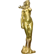Magnificent Large Signed French Art Nouveau Bronze Nude c.1900 M. Bouval - Goldscheider - Paris