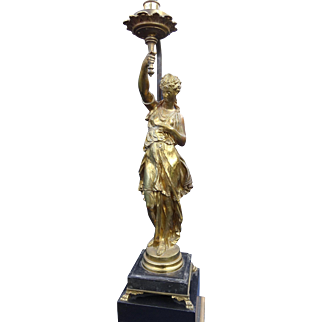 Exceptional French Gilt Bronze Neoclassical Female Figure Signed Mathurin Moreau ca 1890 Mounted As A Lamp