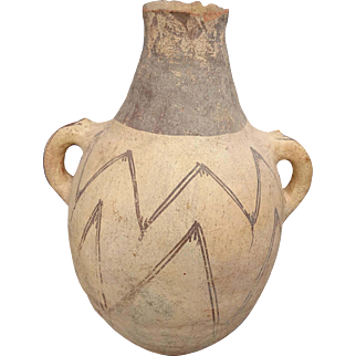 Awesome Cypriot or Minoan Geometric Line Painted Amphora Jar With Handles 2000+ Years Old