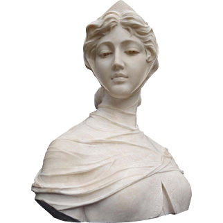 Magnificent Quality Gorgeous Large Italian Antique Carved Marble Female Bust Sculpture P. Barranti ca. 1900
