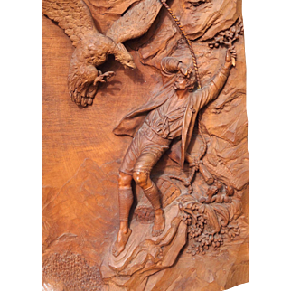 Masterpiece 1890 Black Forest Hermann Steiner Carved Walnut Large Relief Plaque -- Eagle Attacks Mountain Hiker