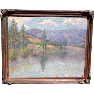 Superior and Beautiful Impressionist California or Washington Mountain Landscape 1900-20