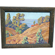 Sweet and Colorful Small Size Impressionist 1930-40 California Coastal Landscape Oil on Artist Panel
