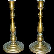 Heavy Cast Handsome German Bronze Art Deco Period Tall Designer Candlesticks