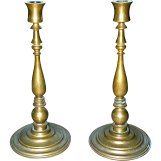 Heavy Cast Handsome German Bronze Art Deco Period Tall Designer Candlesticks