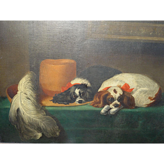 Wonderful Huge American 1853 Pennsylvania Folk Art Oil Painting King Charles Spaniels - After Landseer