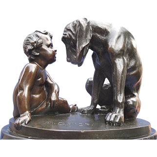Wonderful Martin Götze Bronze - Baby Boy and Large Loving Puppy Dog ca. 1900