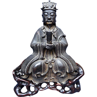 Excellent Ming Dynasty Bronze Taoist Dignitary on Carved Stand ca. 1550