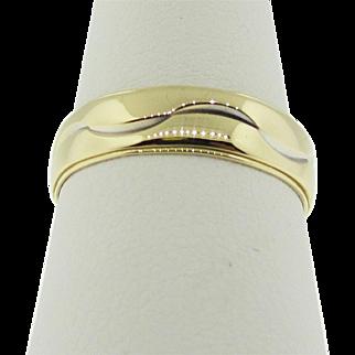 Vintage wedding band design by Artcarved. 14K gold.