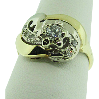 Vintage Yellow and White Gold, and Diamond Art Deco Ring, 1940's