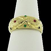 14 Karat Yellow Gold Enamel vintage ring. 1980's.