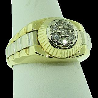 14 Karat two tone Rolex diamond Men's ring. Circa 1970's.
