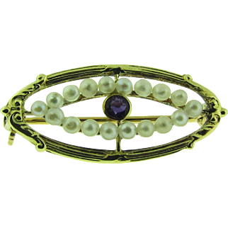 Vintage 14K gold, seed pearl and Amethyst brooch / pin.