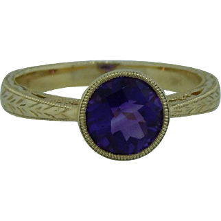 Bezel Set Amethyst Ring In 14 Karat Gold