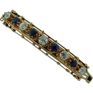 Victorian Rose Gold Bracelet With Diamonds and Blue Sapphires