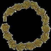 18 Karat Gold Yellow Carved Leaf Bracelet With Diamonds
