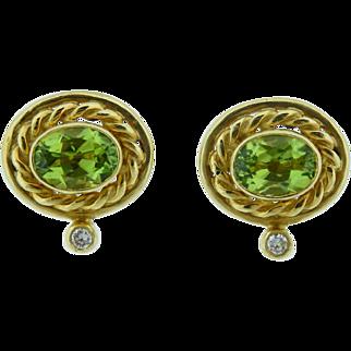 Peridot Earrings in 18 Karat Yellow Gold