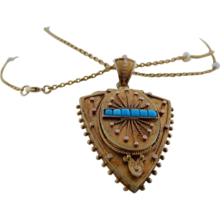 Victorian Etruscan Style Locket With Chain