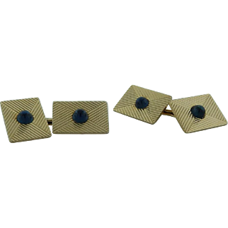 Tiffany & Co. Yellow Gold Cufflinks With Blue Sapphire