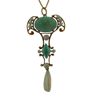 Victorian Turquoise and Pearl Lavalier
