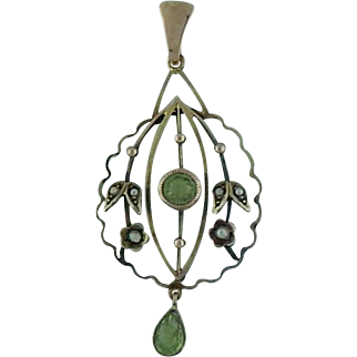 Lavalier Pendant With Peridot and Seed Pearls