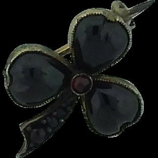 Victorian Garnet Clover Pin