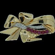 14 Karat Pink and Green Gold Circa 1940 Retro Ruby and Diamond Bow Pin