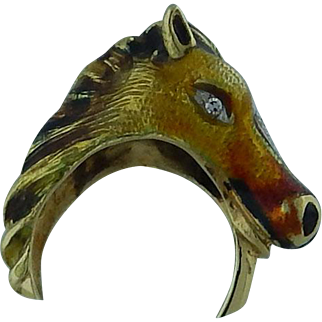 Enamel Horse Ring With Diamonds