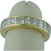 Yellow Gold Princess Cut Diamond Eternity Band