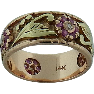 14 Karat Gold Band With Ruby and Diamond Flowers