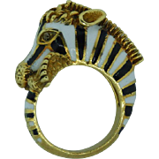 Estate 18 Karat Yellow Gold Enamel Zebra Ring