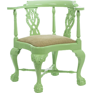A Vintage Chippendale Style Lacquered Corner Chair