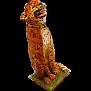 A Large Antique Faience Leopard